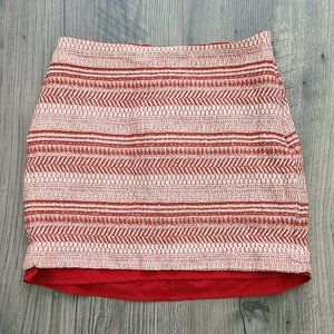 Banana Republix Red Striped Mini Skirt